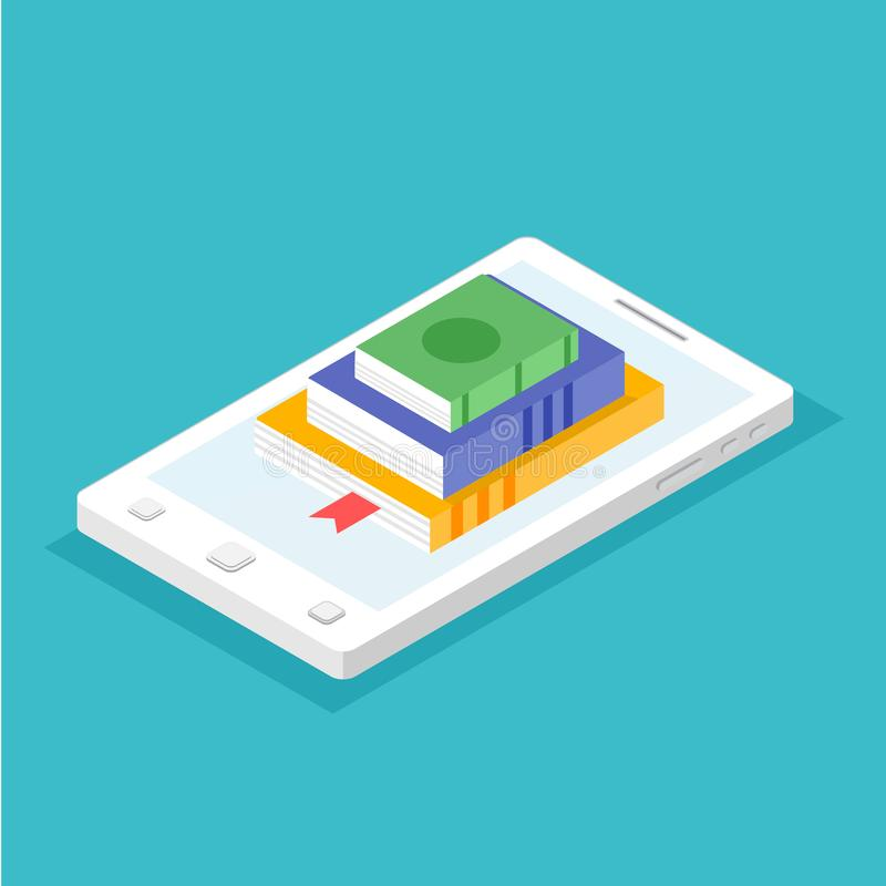 Digitale online boekhandel, bibliotheek, e-leest concept vector illustratie