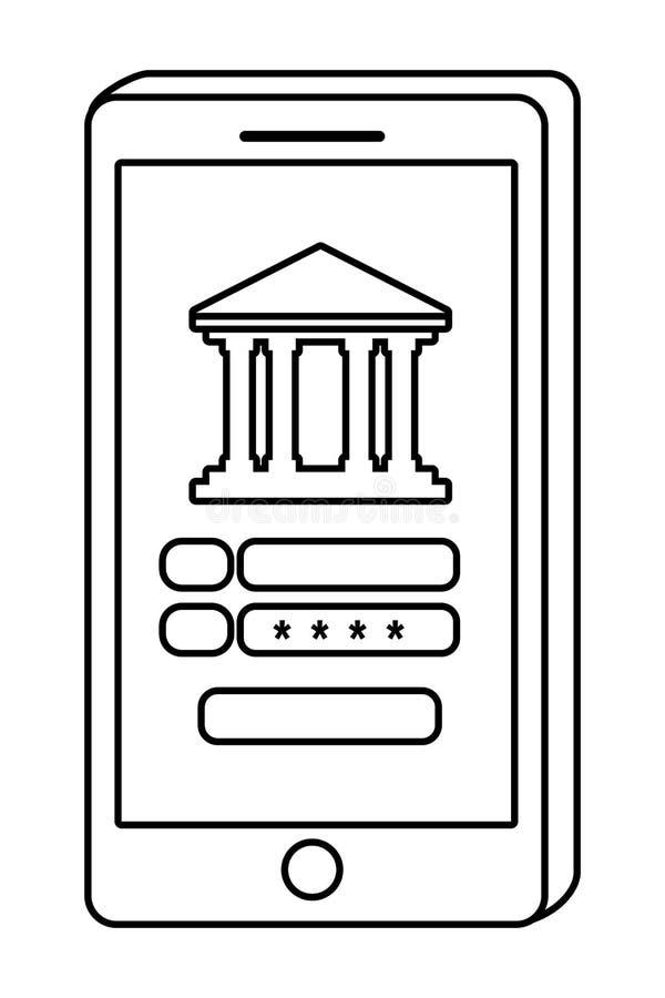 Digitale online de hulpmiddelensmatphone van de bankwezendiensten isoleerde zwart-wit vector illustratie