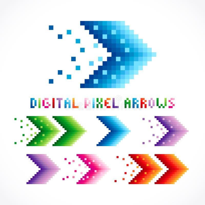 Digitale pixelpijlen royalty-vrije illustratie