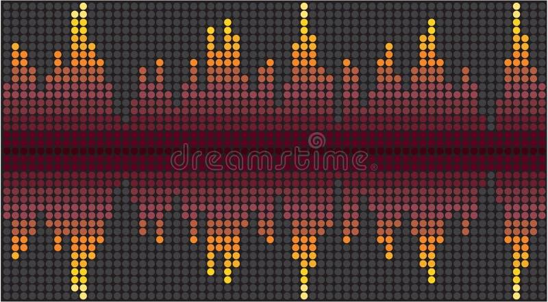 Digitale punten kleurrijke equaliser Creatieve heldere correcte golf Abstracte donkere pulserende achtergrond Ontwerp van muzikal royalty-vrije illustratie