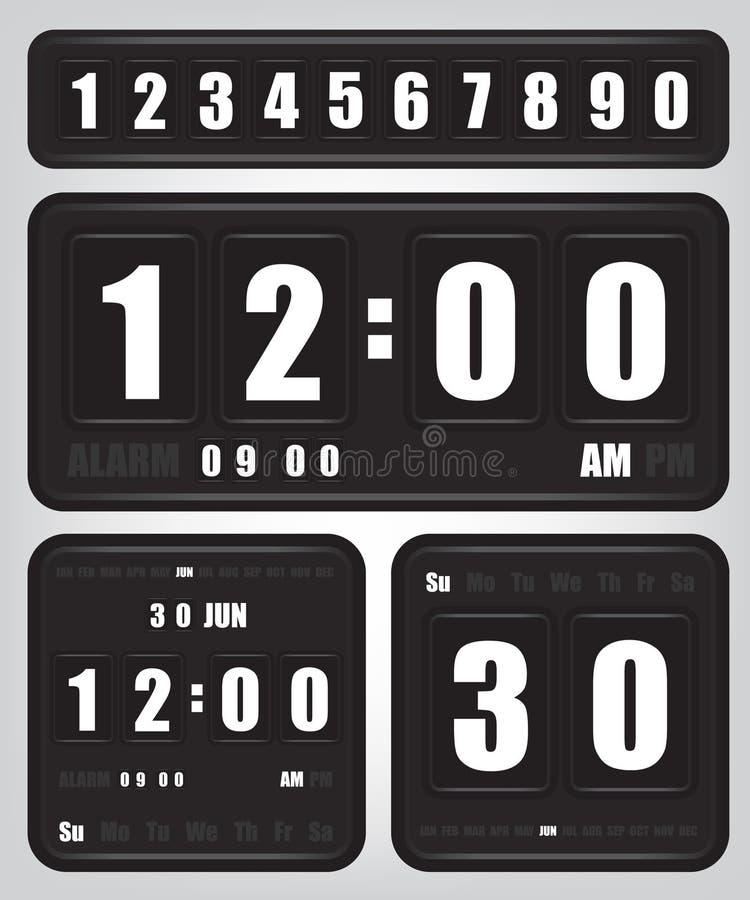 Digitale retro klok en kalender vector illustratie
