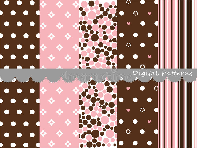 Digitale patronen, plakboekreeks stock illustratie
