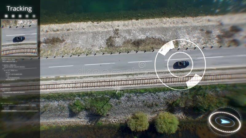 Digitale samengestelde video van arieldoel over de stad Spionuav over Stedelijke streekhorloges van de auto van de satelliet stock foto