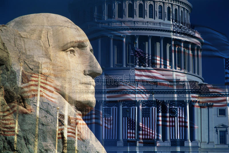 Digitale samenstelling: George Washington, U S Capitool en Amerikaanse vlaggen royalty-vrije stock fotografie
