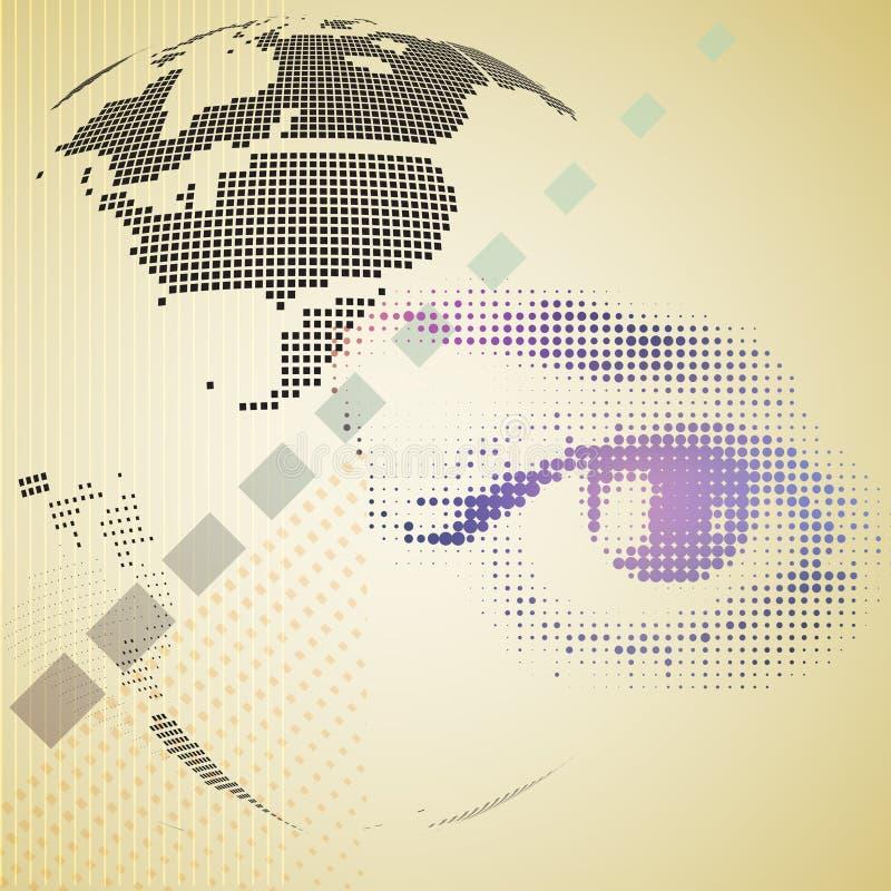 Digitale samenstelling van halftone menselijk oog en abstracte technologie vector illustratie