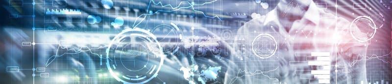 Digitale Schnittstelle des Geschäfts mit Diagrammen, Diagrammen, Ikonen und Zeitachse auf unscharfem Hintergrund Websitetitelfahn stockfotografie