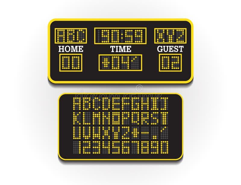 Digitale scoreraad voor sportinformatie illustratievector Scorebord van voetbal of voetbal Groot digitaal aanplakbord van stock illustratie