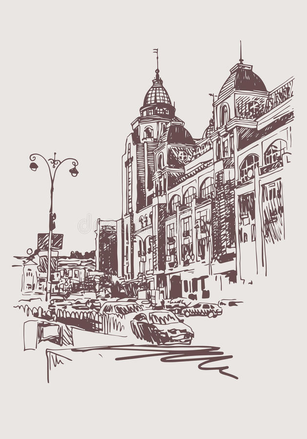Digitale Skizze des ursprünglichen Sepia von Kyiv, Ukraine-Stadtlandschaft lizenzfreie abbildung