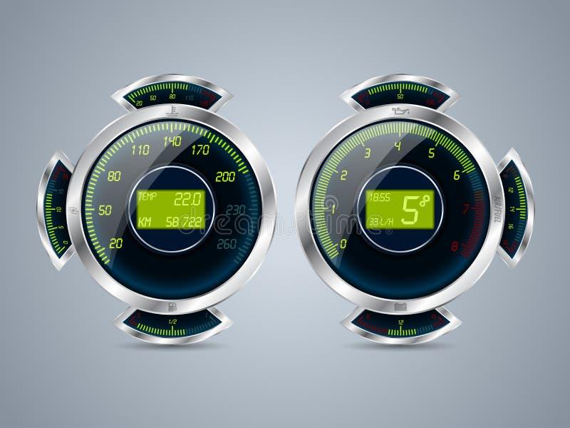 Digitale snelheidsmeteromwenteling in tegenovergestelde richting met andere maten stock illustratie