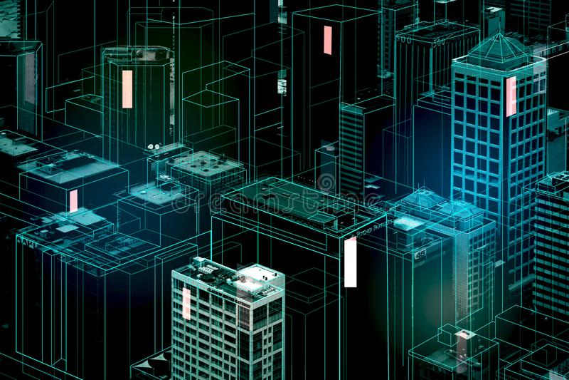 Digitale stadsachtergrond stock illustratie