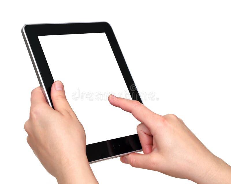 Digitale tablet in handen royalty-vrije stock foto