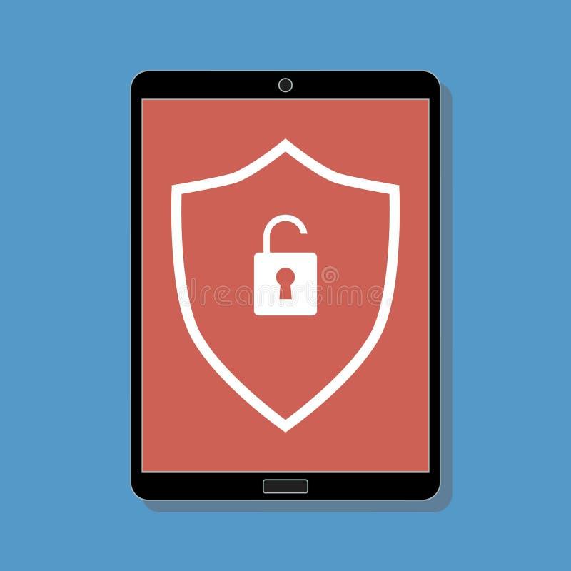 Digitale tablet met rood onbeschermd symbool vector illustratie