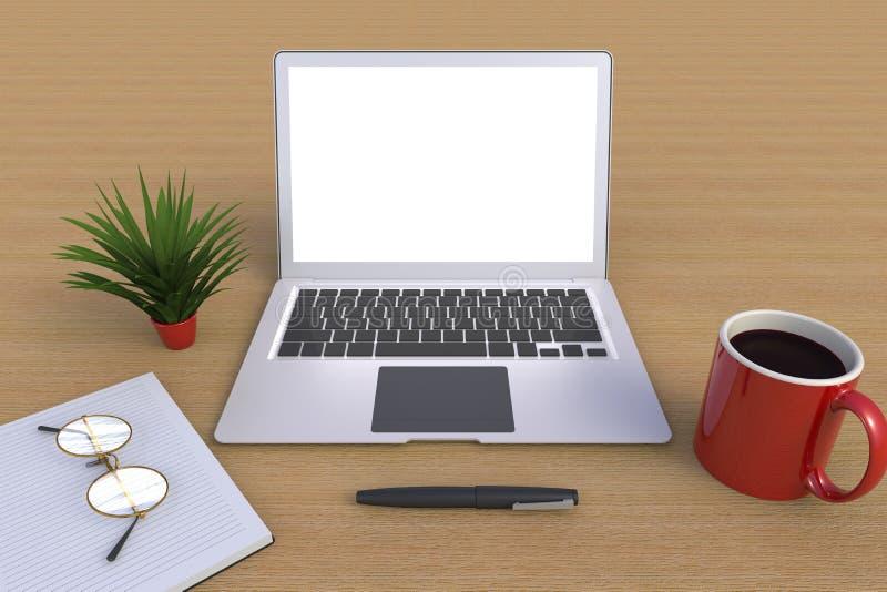 Digitale technologie voor computernetwerkverbinding, Koffiebeker met laptop op houten tafel achtergrond stock illustratie