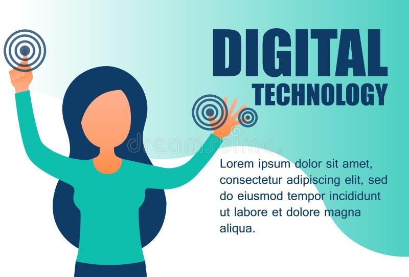Digitale technologie voor het landen van webbanners die de realiteit in de moderne omgeving vergroot royalty-vrije illustratie