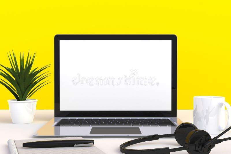 Digitale technologie voor netwerkverbinding voor computers, Koffiebeker met wit leeg scherm van de laptop op de voorzijde van de  vector illustratie