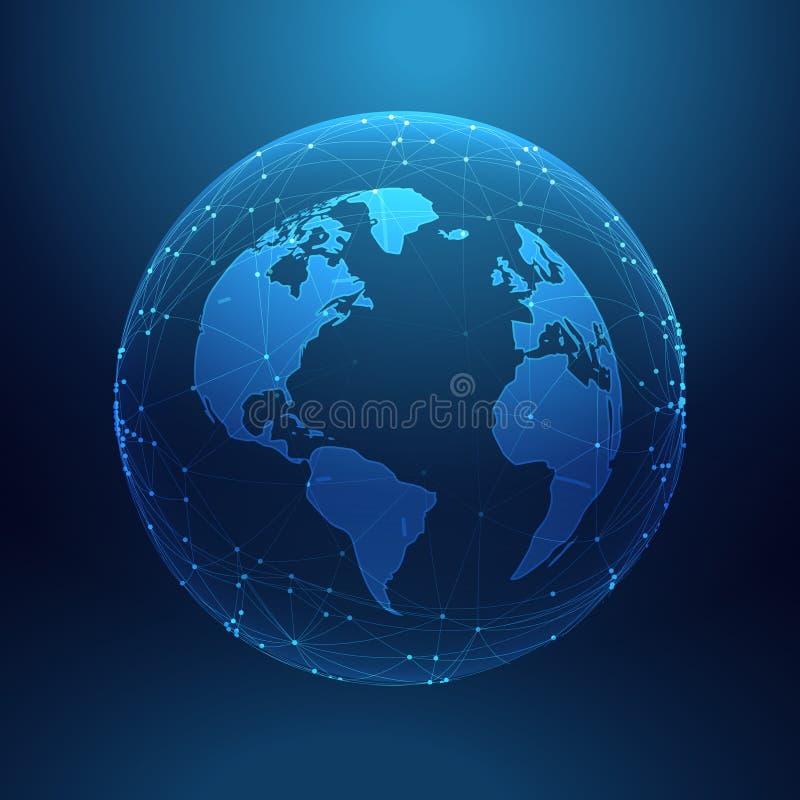 digitale technologieaarde binnen de serie van netwerklijnen royalty-vrije illustratie