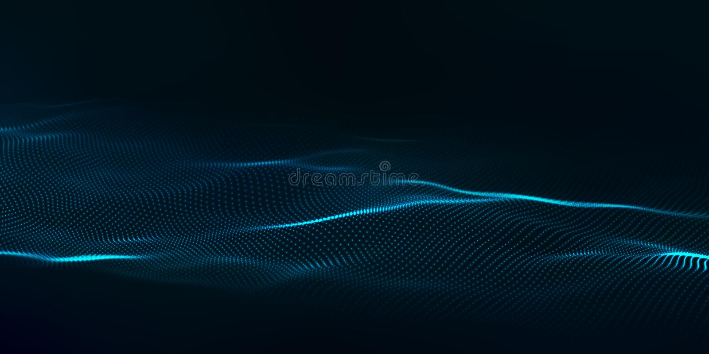 Digitale technologiegolf Futuristische blauwe vectorillustratie Grote Gegevens Lage polyvormpunten stock illustratie