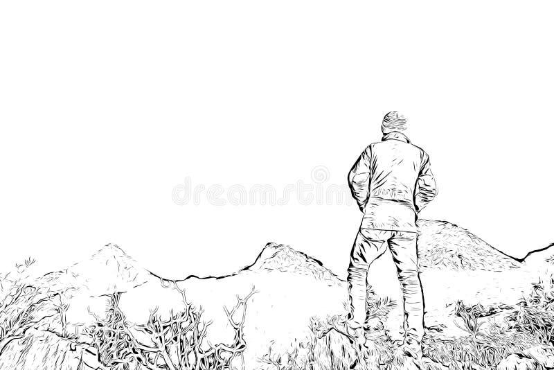 Digitale tekening die van de mens zich op klip, zwart-wit beeld bevinden royalty-vrije illustratie