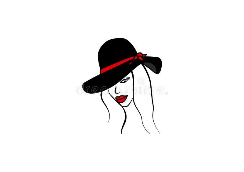 Digitale tekening van een meisje met een hoed royalty-vrije illustratie
