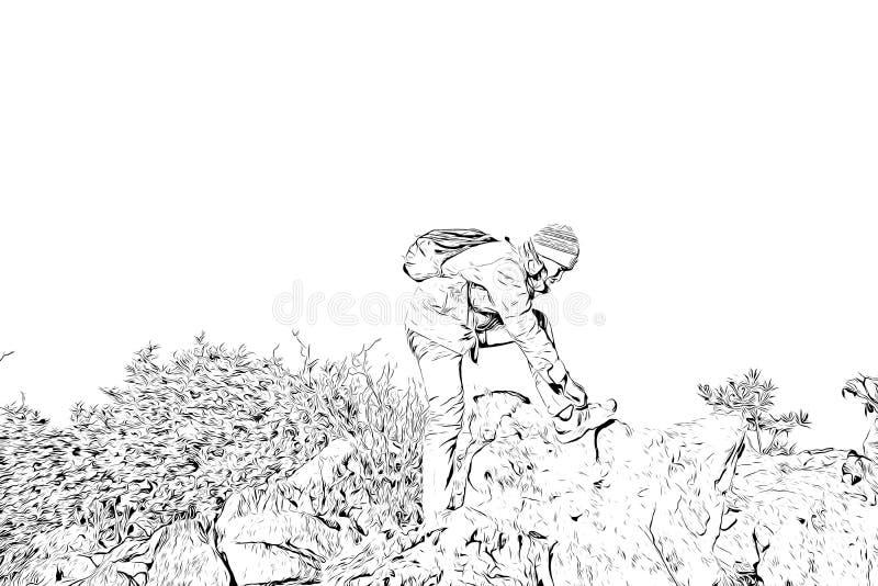 Digitale tekening van mensen bindende schoen op klip, zwart-wit beeld vector illustratie