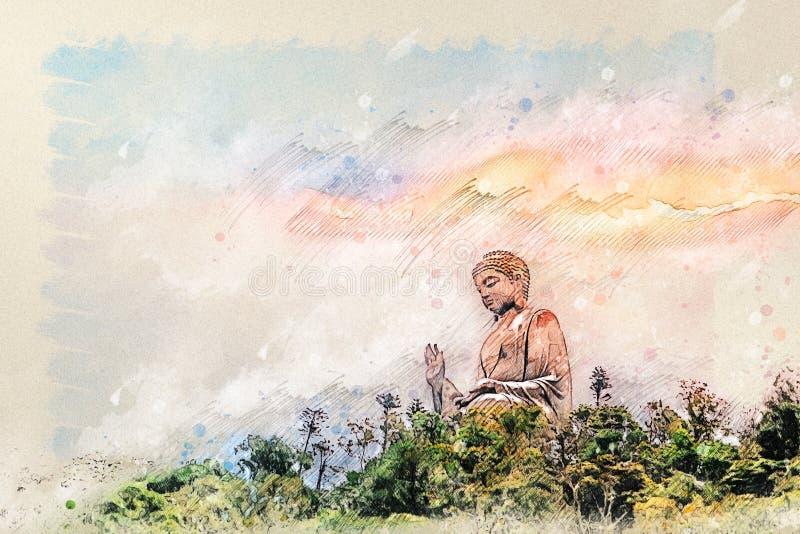 Digitale tekening van Reuzeboedha van Po Lin Monastery bij Lantau-Eiland Hong Kong stock afbeelding