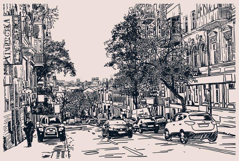Digitale tekening van stadsverkeer, gravurestijl stock illustratie