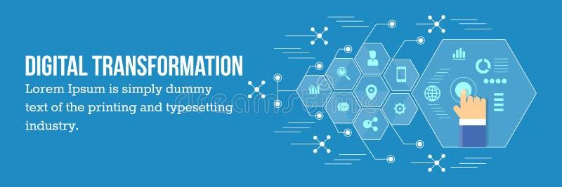 Digitale transformatie - bedrijfsontwikkeling via digitale technologie vector illustratie