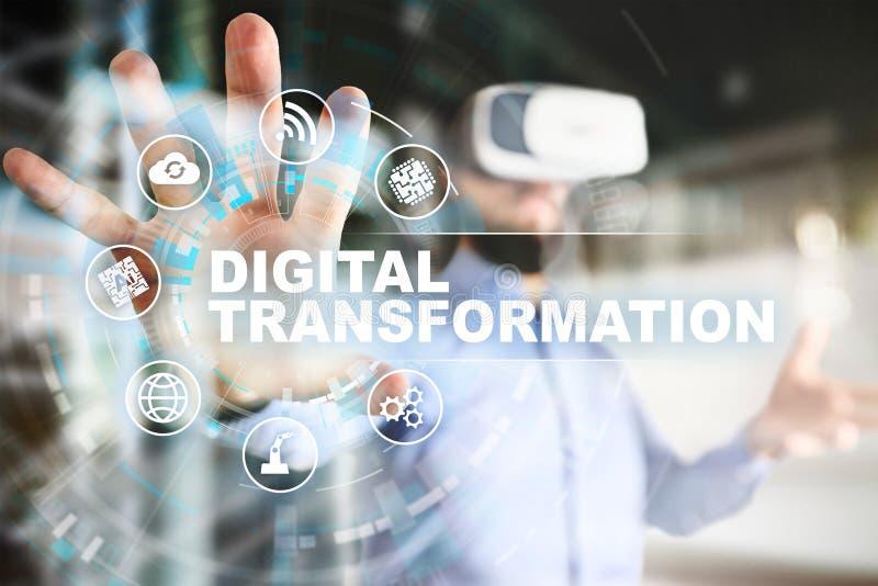 Digitale transformatie, Concept digitalisering van bedrijfsprocessen en moderne technologie stock afbeeldingen