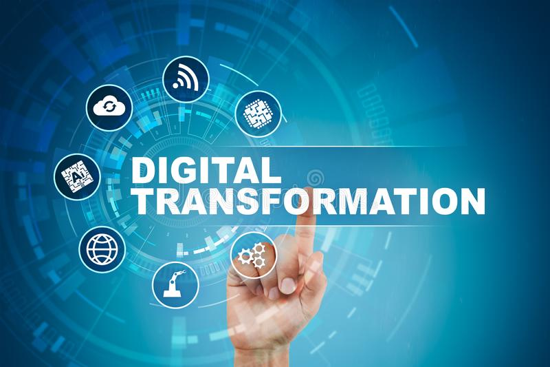 Digitale transformatie, Concept digitalisering van bedrijfsprocessen en moderne technologie stock fotografie
