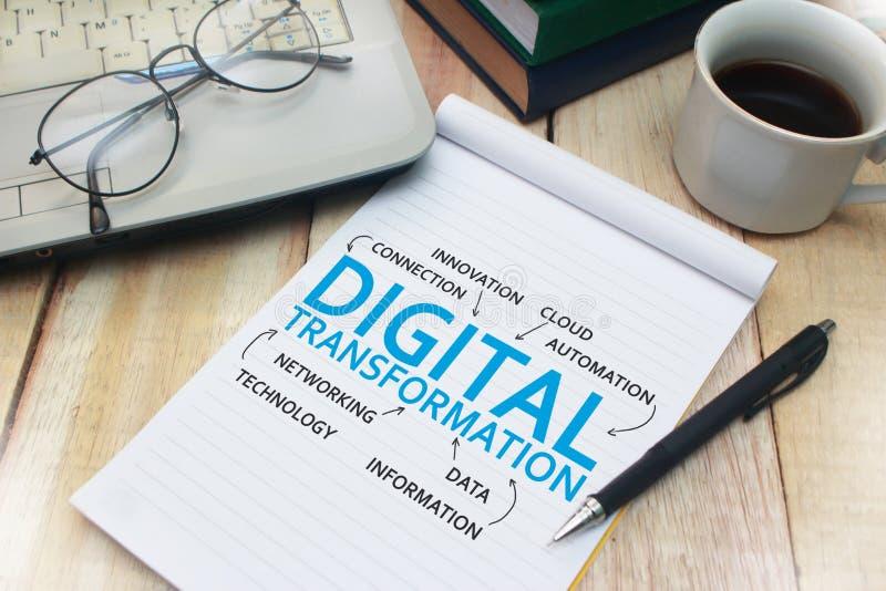 Digitale Transformatie, het Concept van Woordencitaten stock afbeelding