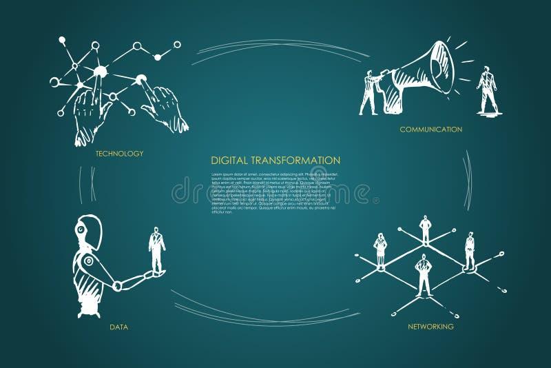 Digitale transformatie, technologie, mededeling, voorzien van een netwerk, gegevensconcept royalty-vrije illustratie