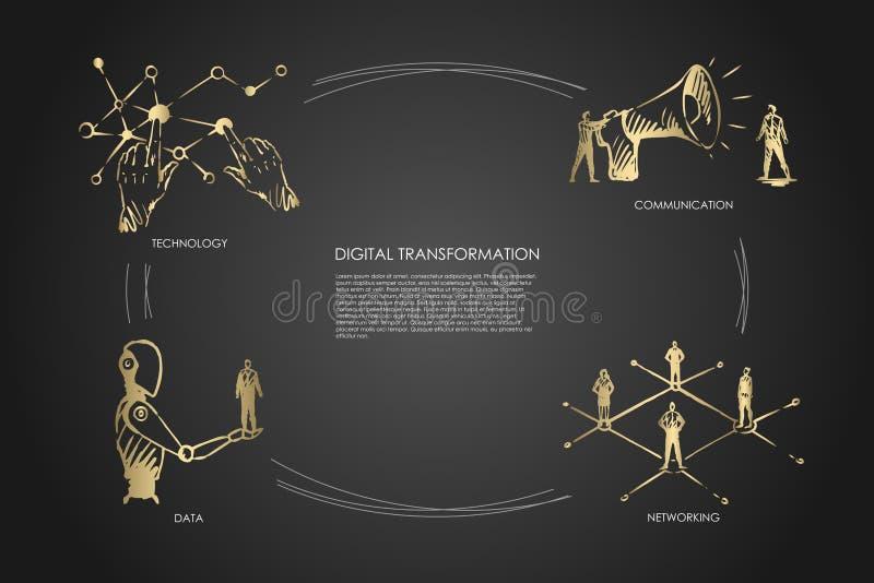 Digitale transformatie, technologie, mededeling, voorzien van een netwerk, gegevensconcept stock illustratie