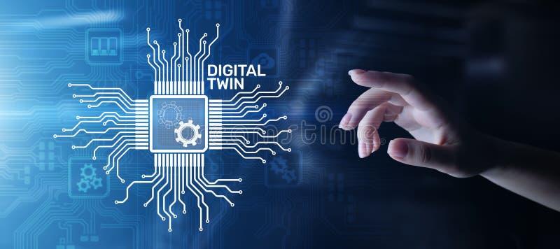 Digitale tweeling bedrijfs en industrieel proces modellering innovatie en optimalisering vector illustratie