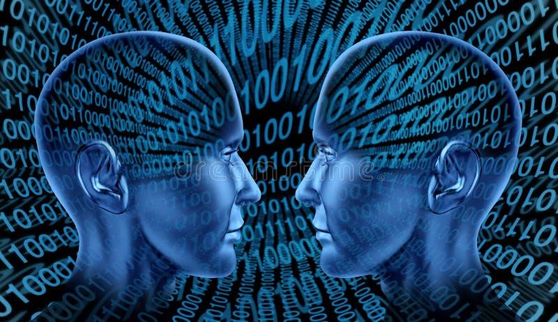 Digitale uitwisselingstechnologie die binaire code HU deelt stock illustratie
