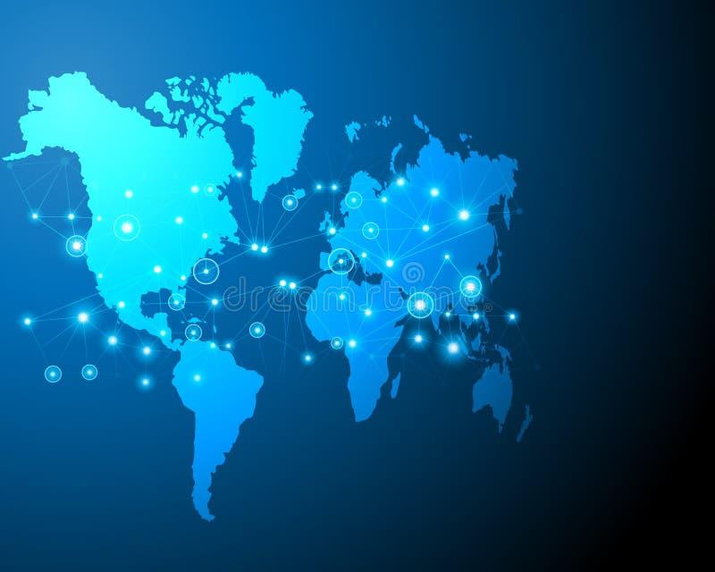 Digitale van het bedrijfs bigdata online systeem van de wereldkaart cyber streek per vector illustratie