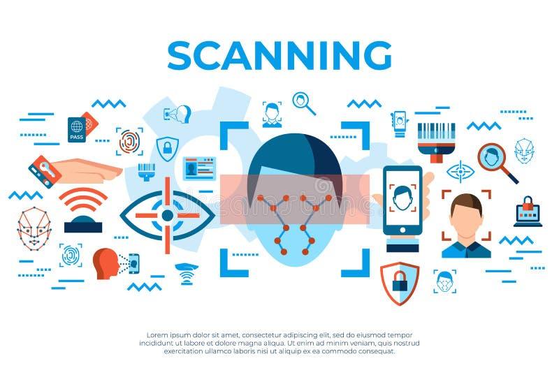 Digitale vector gezichts geplaatste erkenningspictogrammen vector illustratie