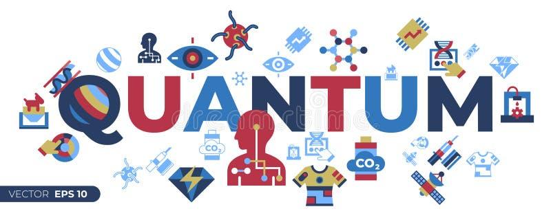Digitale vector quantumdingen om te komen technologie stock illustratie