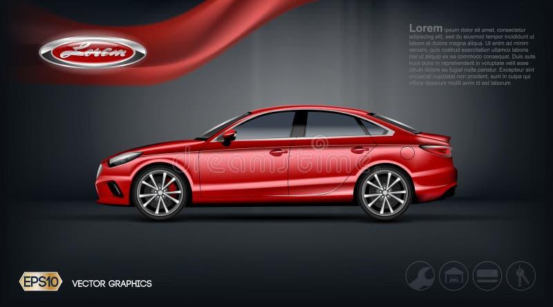 Digitale vector rode auto met zwart venstersmodel vector illustratie