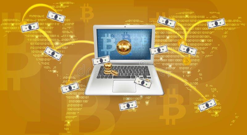 Digitale Vectorcryptocurrency worldmap Bitcoinmijnbouw, overdrachten van laptop concepten royalty-vrije illustratie