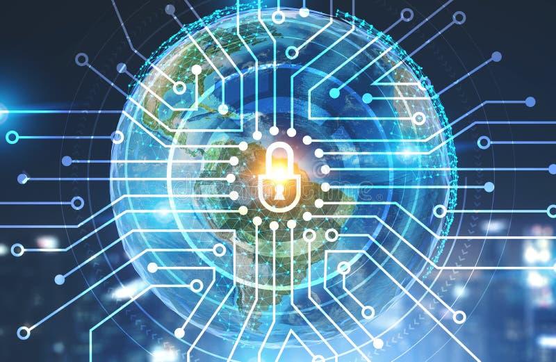 Digitale veiligheid, Aarde stock illustratie