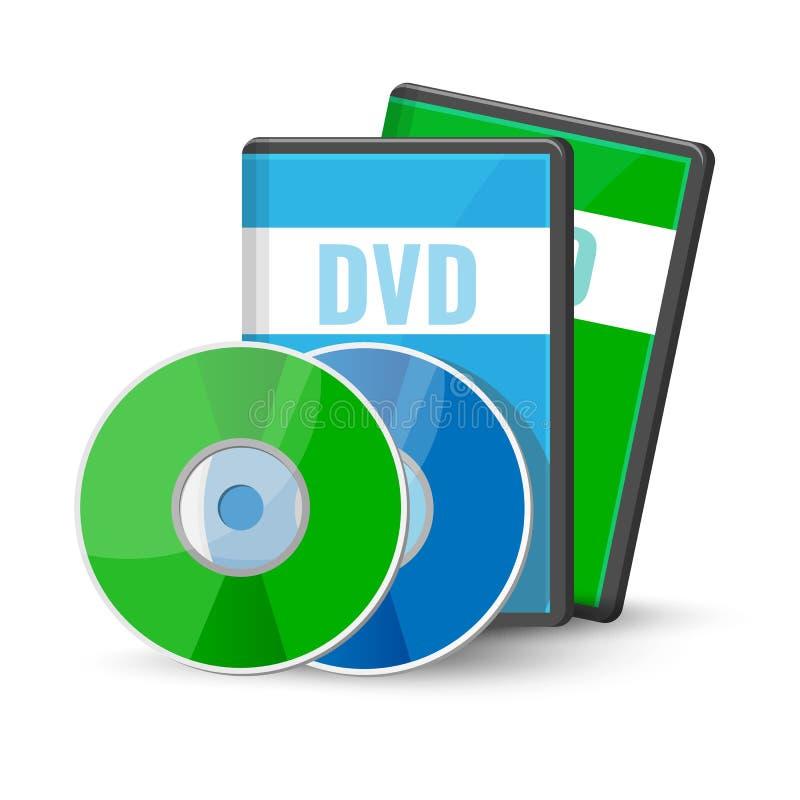 Digitale video de schijvengevallen van DVD voor opslag, veelzijdige optische schijf royalty-vrije illustratie