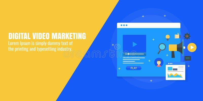 Digitale video marketing, de dienst en productbevordering via video reclame Vlakke ontwerp vectorbanner stock illustratie
