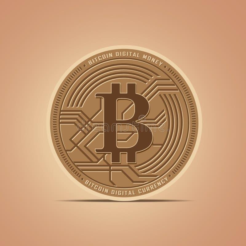 Digitale Vlakke het pictogram vectorillustratie van geldbitcoins stock illustratie