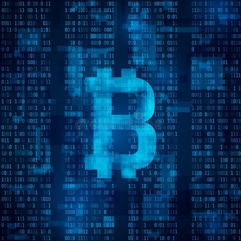 Digitale Währung Bitcoin Symbol von bitcoin auf blauem binär Code Abstrakter Hintergrundvektor lizenzfreie abbildung
