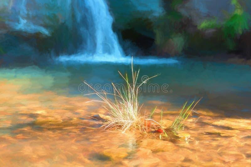 Digitale watercolour van draperend water bij Drie Graafschappenhoofd royalty-vrije illustratie