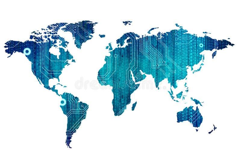 Digitale wereldkaart stock afbeeldingen