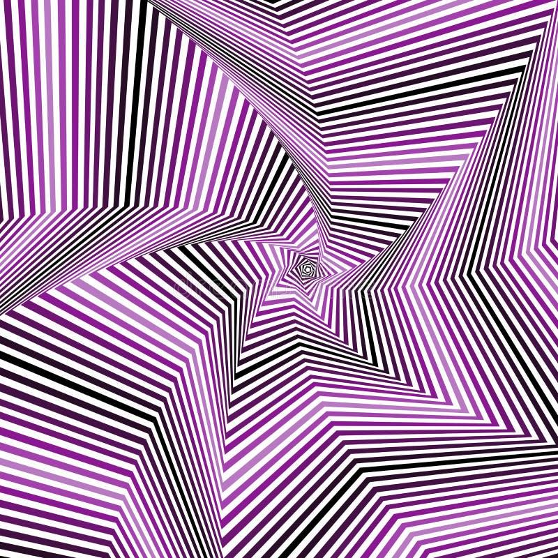 Digitale wervelende pentagonale stervormen in violette tinten royalty-vrije illustratie