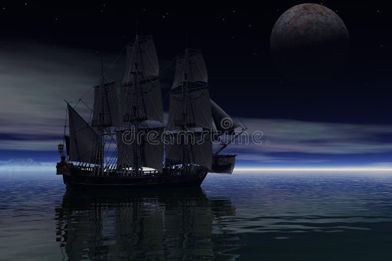 digitale Wiedergabe 3D eines Segelschiffs am frühen Morgen stock abbildung