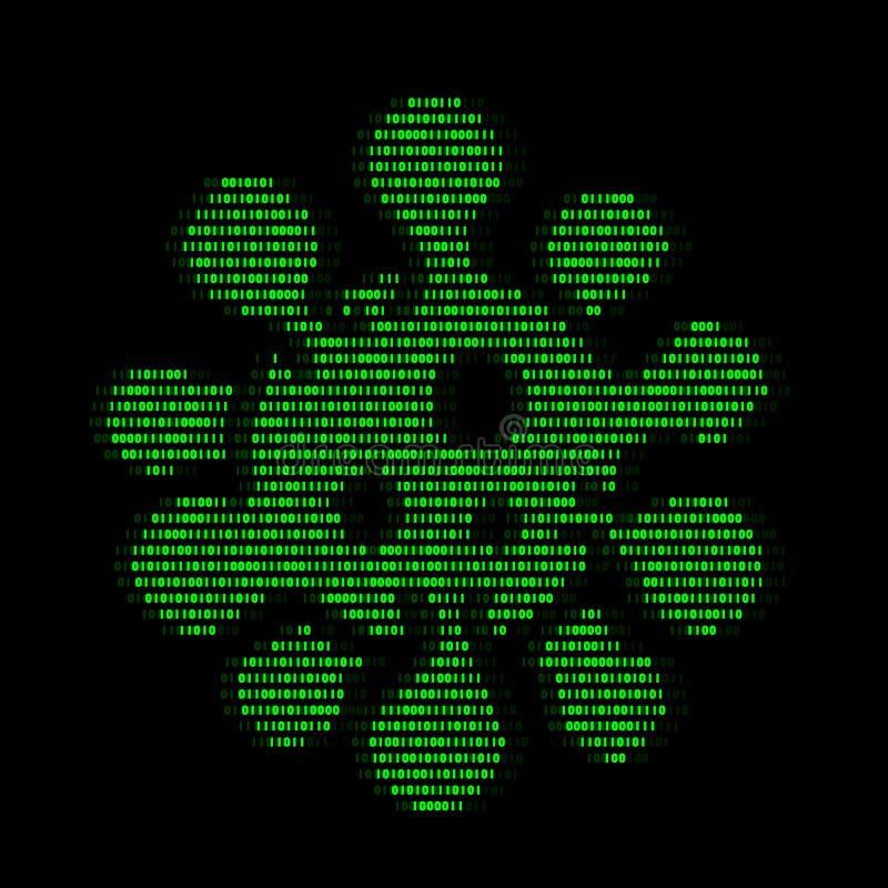 Digitale Zahl der Logiks null und eine der grünen Viruszellmikroben für Virussicherheitszusammenfassungsvektor-Illustrationsdesig stock abbildung