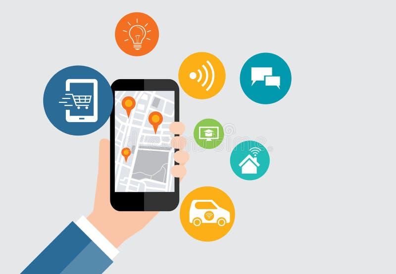 Digitale zaken en sociale slimme stadsverbinding op mobiel vector illustratie